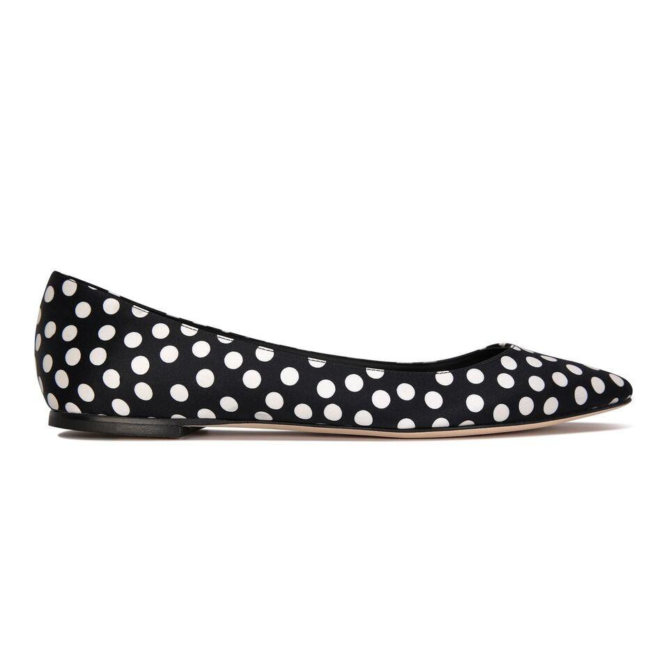 SIENA - Satin Black & White Dots, VIAJIYU - Women's Hand Made Sustainable Luxury Shoes. Made in Italy. Made to Order.