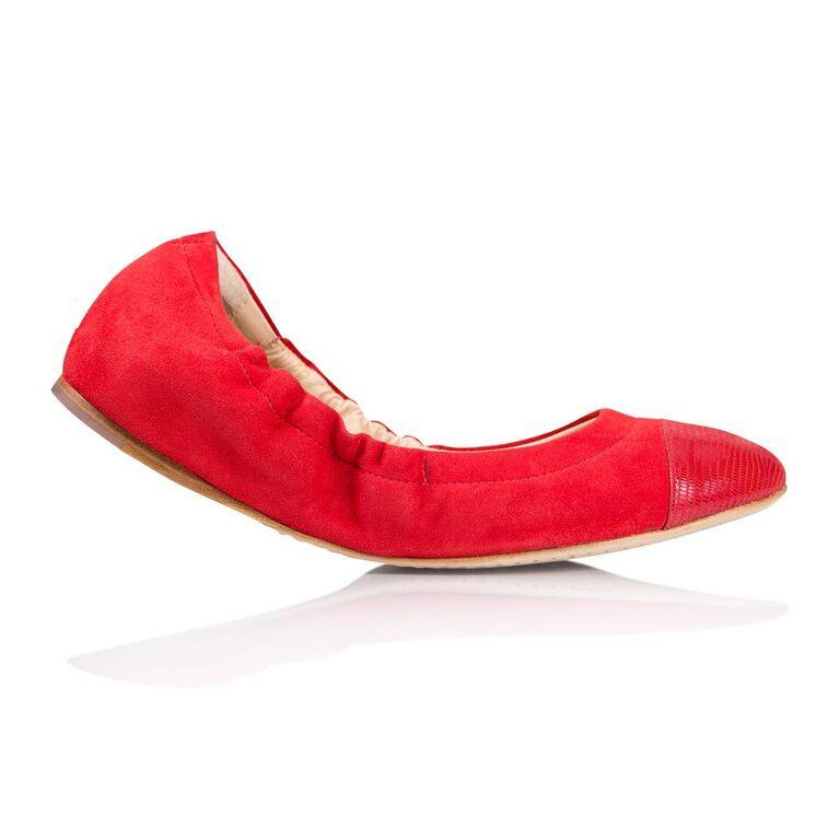 PORTOFINO - Velukid Rosso + Varanus, VIAJIYU - Women's Hand Made Sustainable Luxury Shoes. Made in Italy. Made to Order.