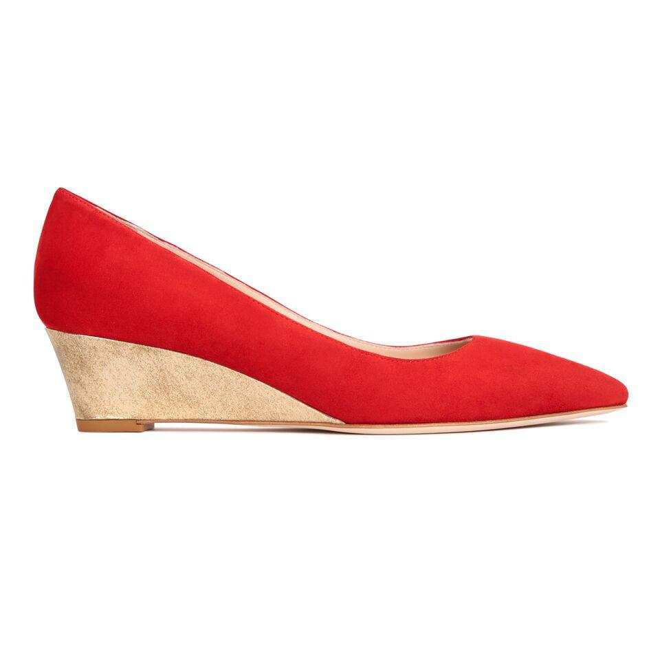 TRENTO - Velukid Red + Metallic Spot Gold, VIAJIYU - Women's Hand Made Sustainable Luxury Shoes. Made in Italy. Made to Order.