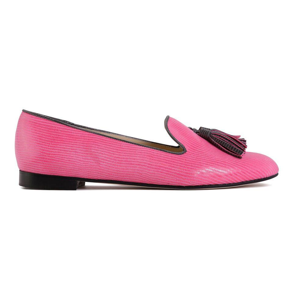 PARMA - Varanus Epiphany Pink + Anthracite, VIAJIYU - Women's Hand Made Sustainable Luxury Shoes. Made in Italy. Made to Order.