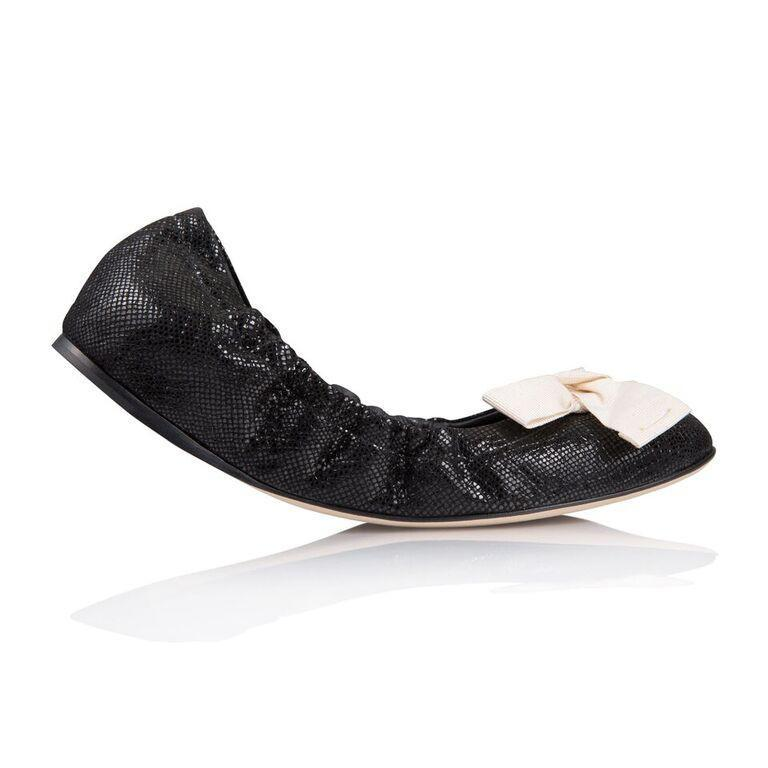 PORTOFINO - Karung Nero + Grosgrain Panna Bow, VIAJIYU - Women's Hand Made Sustainable Luxury Shoes. Made in Italy. Made to Order.