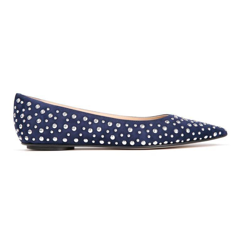 COMO - Velukid Midnight + Big Silver Studs, VIAJIYU - Women's Hand Made Sustainable Luxury Shoes. Made in Italy. Made to Order.