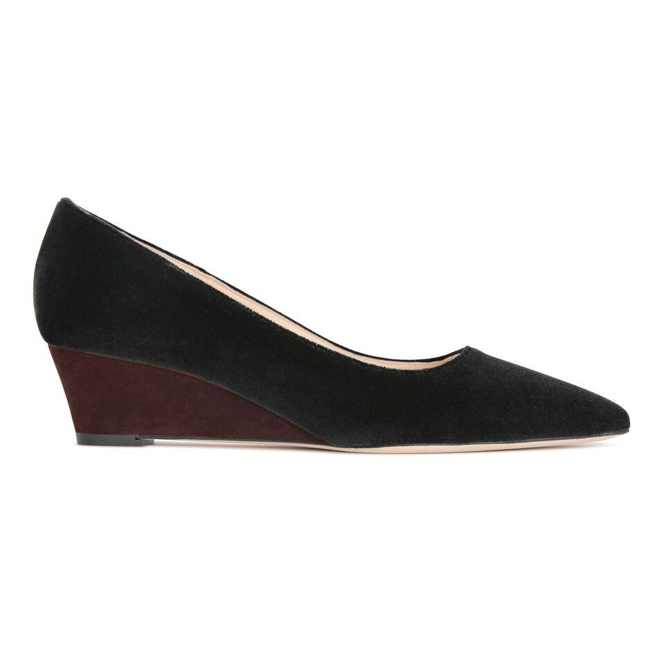 TRENTO - Velvet Nero + Hydra Espresso, VIAJIYU - Women's Hand Made Sustainable Luxury Shoes. Made in Italy. Made to Order.