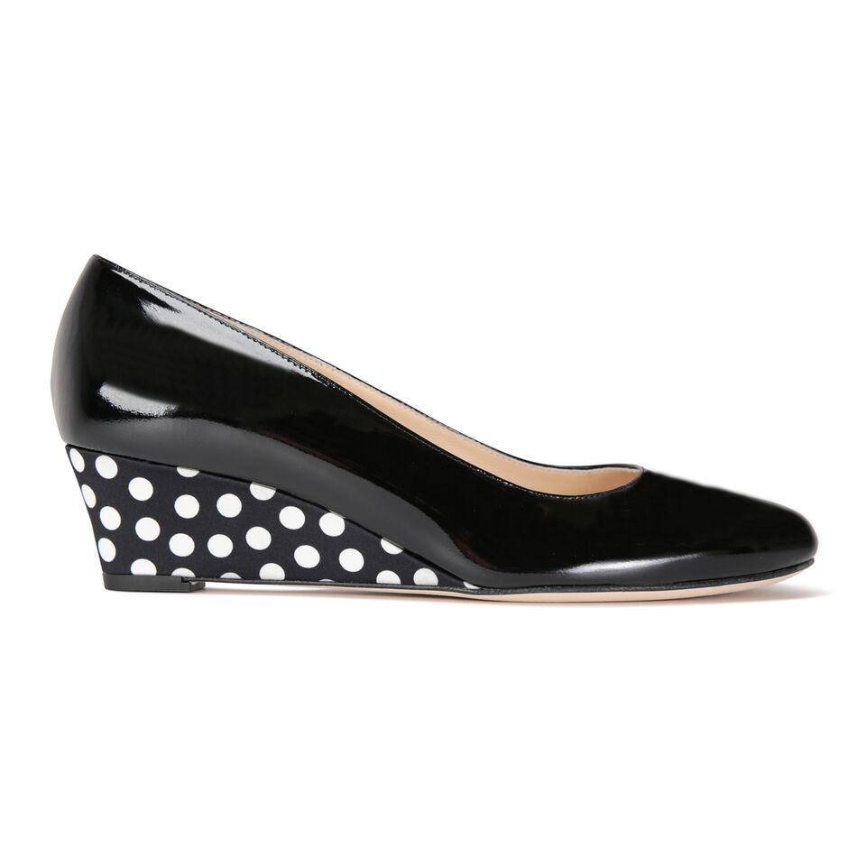 BERGAMO - Patent Nero + Satin Black & White Dots, VIAJIYU - Women's Hand Made Sustainable Luxury Shoes. Made in Italy. Made to Order.