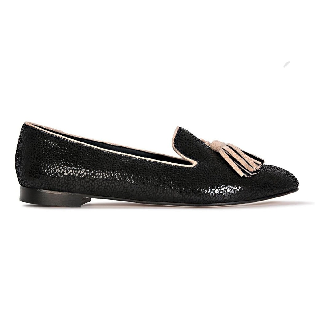 PARMA - Savannah Nero + Tan, VIAJIYU - Women's Hand Made Sustainable Luxury Shoes. Made in Italy. Made to Order.
