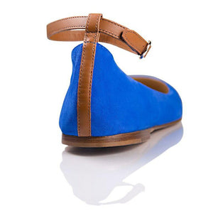 TORINO -  Velukid Cobalt + Calf Cuoio, VIAJIYU - Women's Hand Made Sustainable Luxury Shoes. Made in Italy. Made to Order.