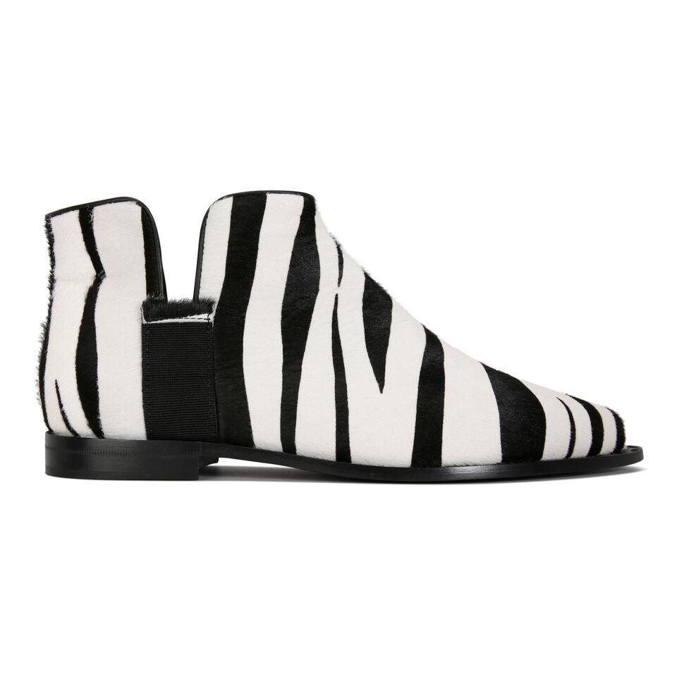 RAVELLO - Calf Hair Zebra + Grosgrain Nero, VIAJIYU - Women's Hand Made Sustainable Luxury Shoes. Made in Italy. Made to Order.
