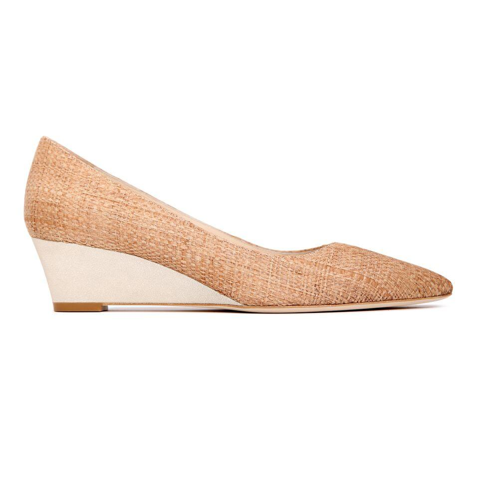TRENTO - Raffia Natural + Burma Platino, VIAJIYU - Women's Hand Made Sustainable Luxury Shoes. Made in Italy. Made to Order.
