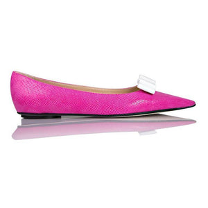 COMO - Karung Epiphany Pink + Patent White Bow, VIAJIYU - Women's Hand Made Sustainable Luxury Shoes. Made in Italy. Made to Order.