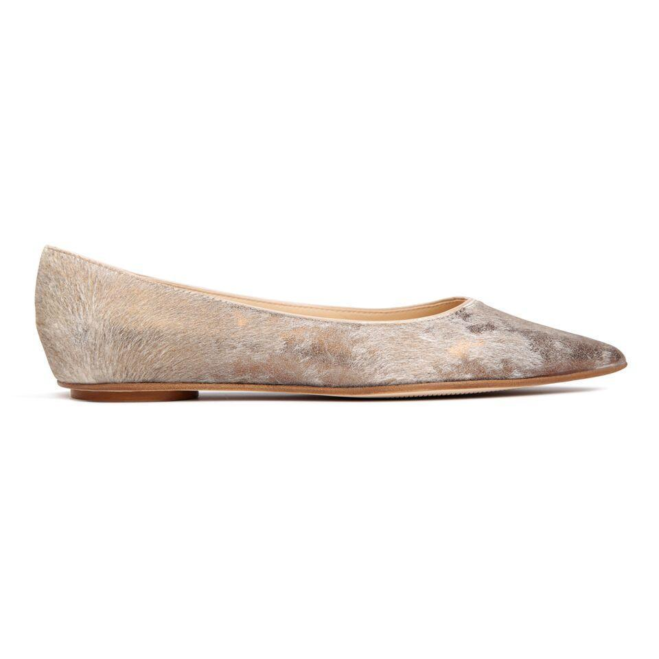 COMO - Calf Hair Vintage Copper, VIAJIYU - Women's Hand Made Sustainable Luxury Shoes. Made in Italy. Made to Order.