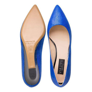 TRENTO - Savannah Cobalt + Patent Nero, VIAJIYU - Women's Hand Made Sustainable Luxury Shoes. Made in Italy. Made to Order.