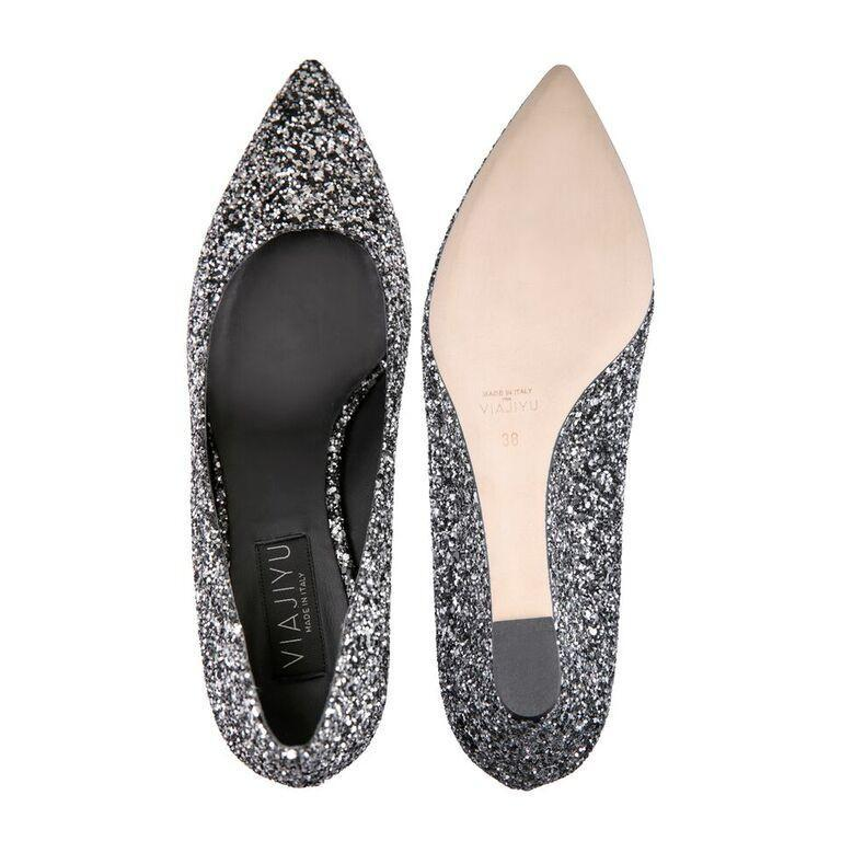 TRENTO - Glitter Notte, VIAJIYU - Women's Hand Made Sustainable Luxury Shoes. Made in Italy. Made to Order.