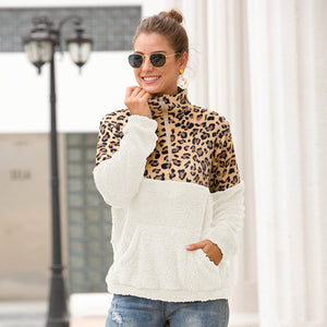 Leopard Patchwork  Women Zip Fleece Casual Oversized Hoodie - 7 Bess