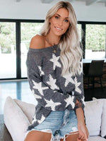 Sweater with Sleeve Five-pointed Star Loose Sweater - 7 Bess