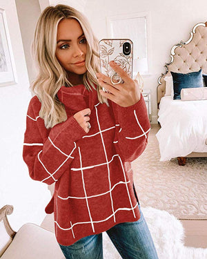Ladies Casual Long Sleeve Knit Checkered Fashion Sweater - 7 Bess