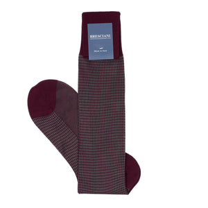 Calcetines Bresciani Bordeaux Medio Pata Gallo