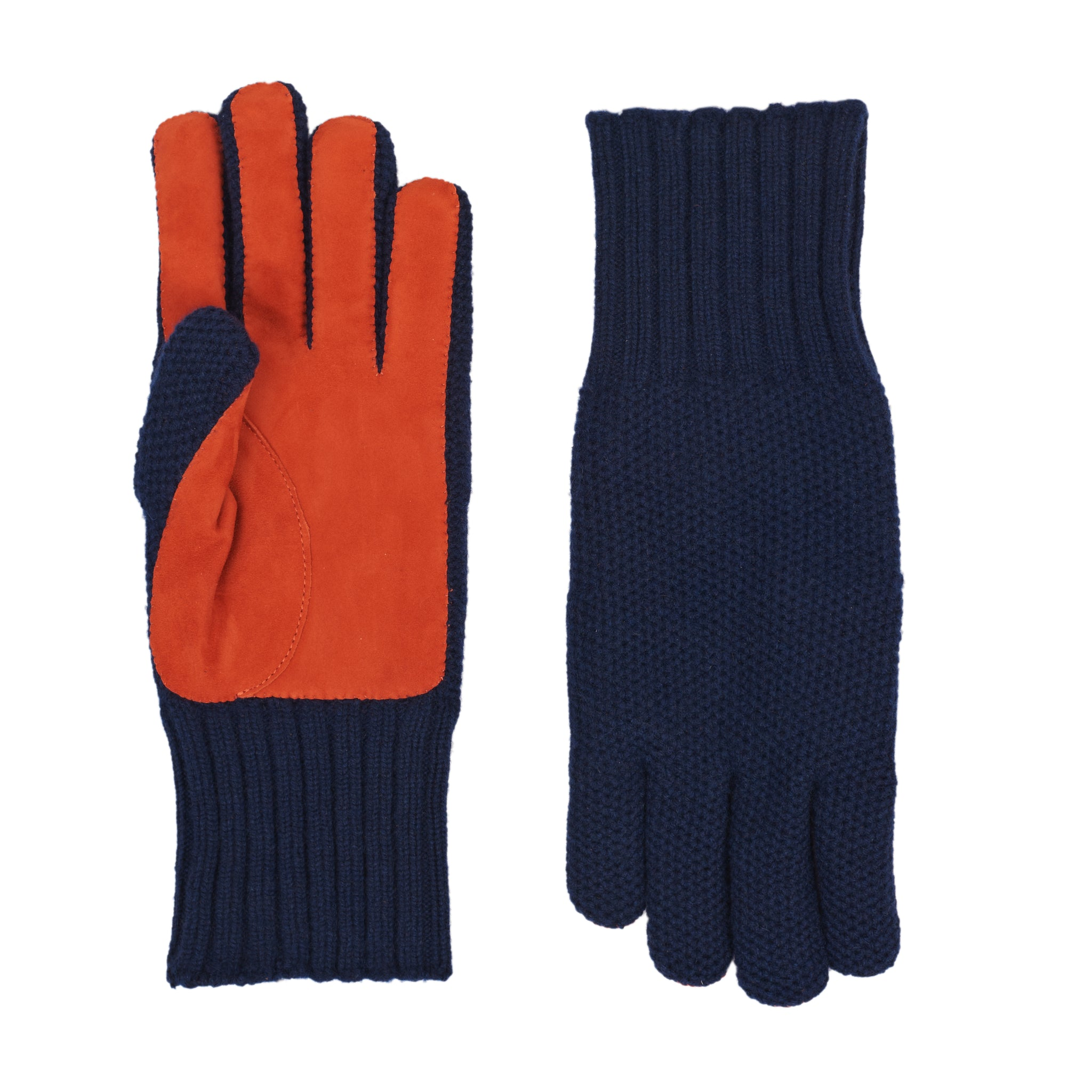 Guantes Cashmere Suede Navy Orange