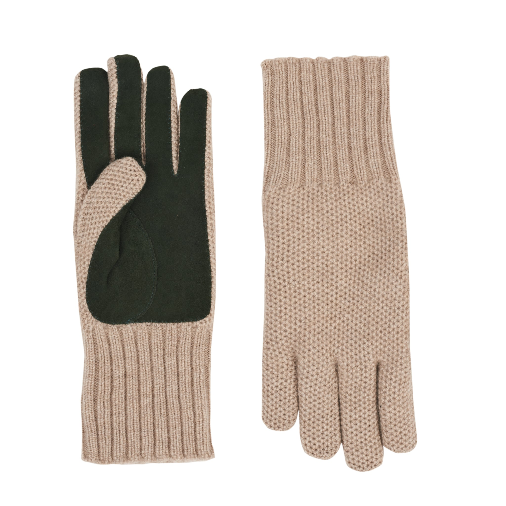 Guantes Cashmere Suede Beige Green