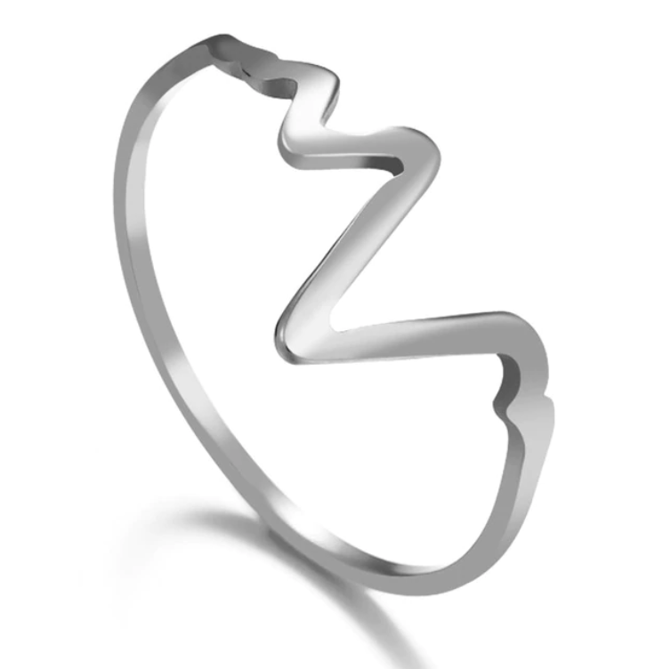 heartbeat ring ecg in 925 sterling silver plated