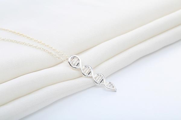 dna necklace sterling silver plated