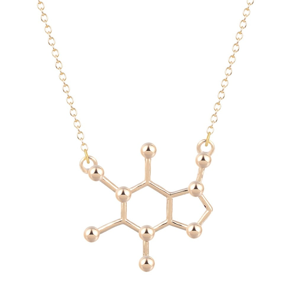 caffeine necklace - gold plated