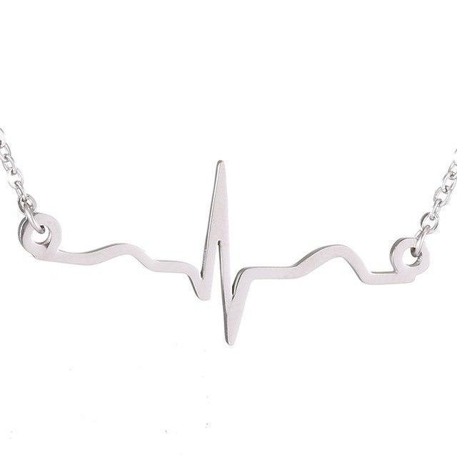 heartbeat necklace sterling silver plated ecg