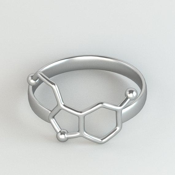 serotonin ring - sterling silver - science innovated jewelry - by sciencejewelries