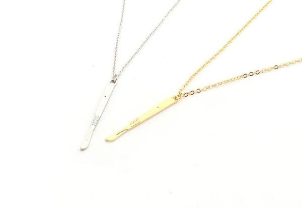 scalpel necklace - gold plated