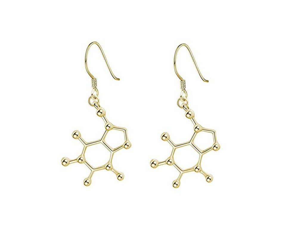 caffeine earrings - gold plated