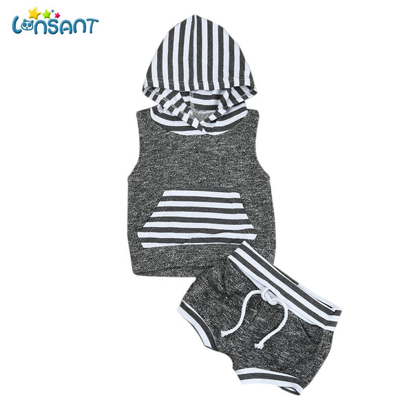 Striped Hooded Outfits Set