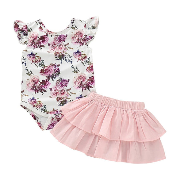 Floral Skirt Outfits Set