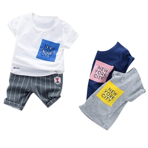 Letter T-shirt Stripe Shorts Outfit
