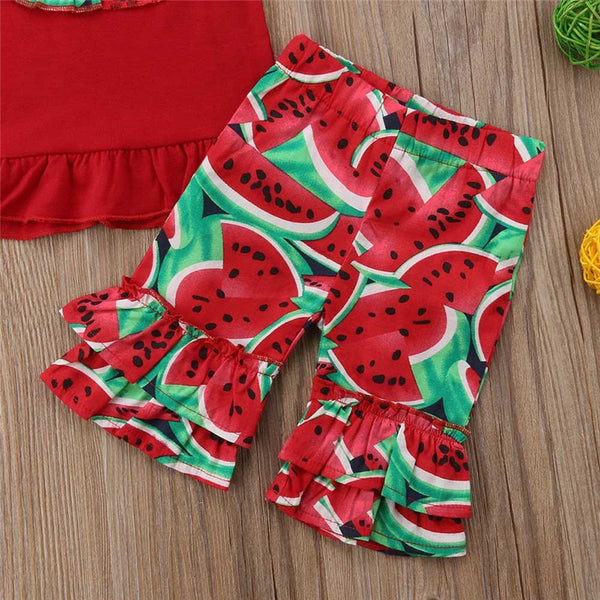 Sleeveless Watermelon Print Outfit