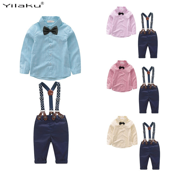 Gentleman Bow Tie Shirt + Suspender Pants