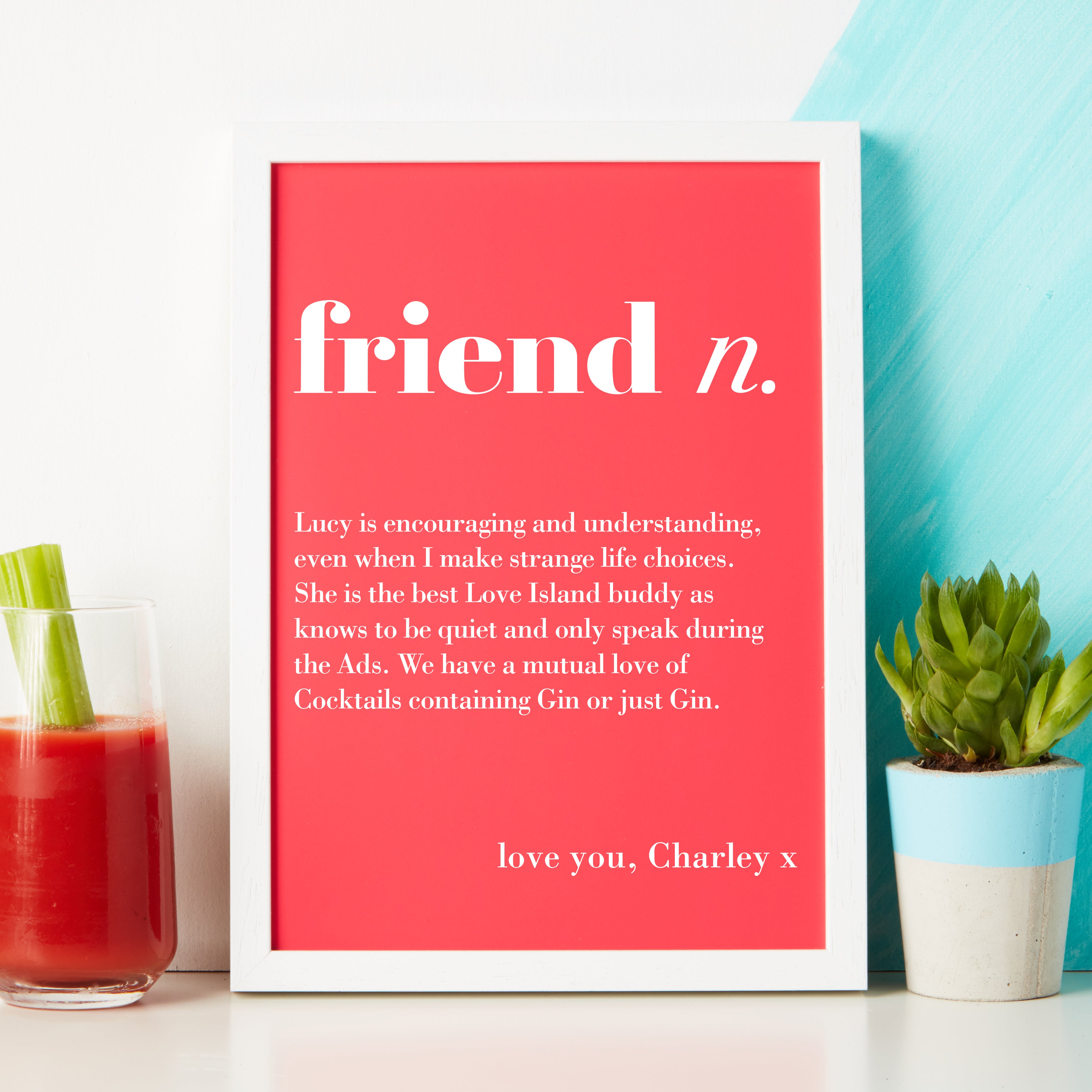 Friend Birthday Gift Gifts For Friends Personalised Definition Print