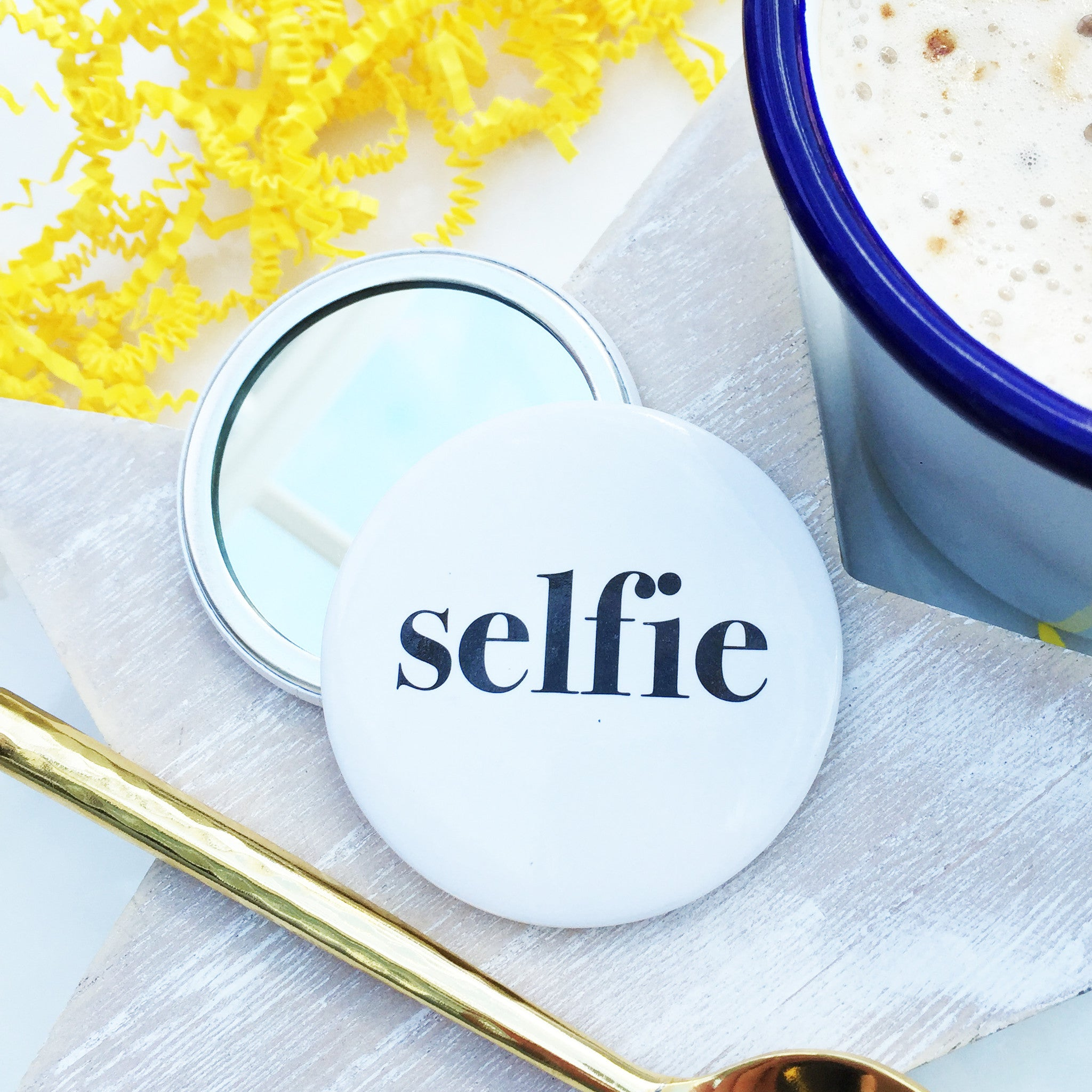 Selfie pocket badge mirror coconutgrass for Gifts and homewares