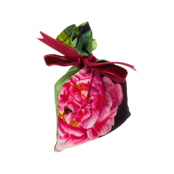 "Silk Lavender Bag, Midnight Blue and Green ""La Pivoine"" - Castlebird Rose"