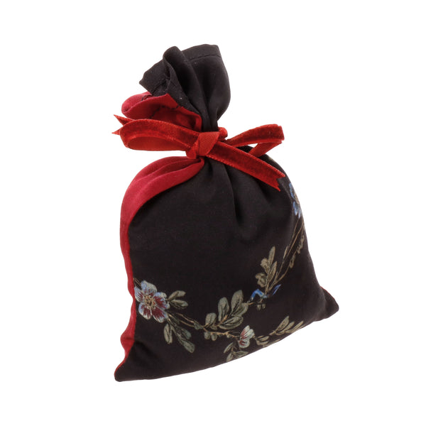 "Silk Lavender Bag, Black and Red ""Le Perroquet"" - Castlebird Rose"