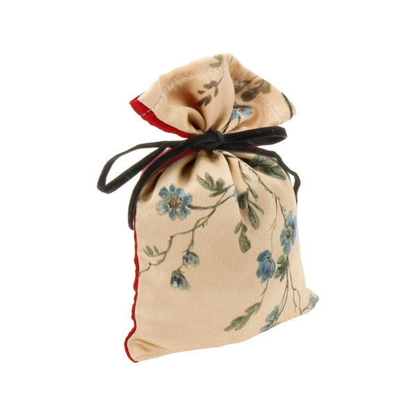 "Silk Lavender Bag, Gold and Red ""Le Perroquet"" - Castlebird Rose"
