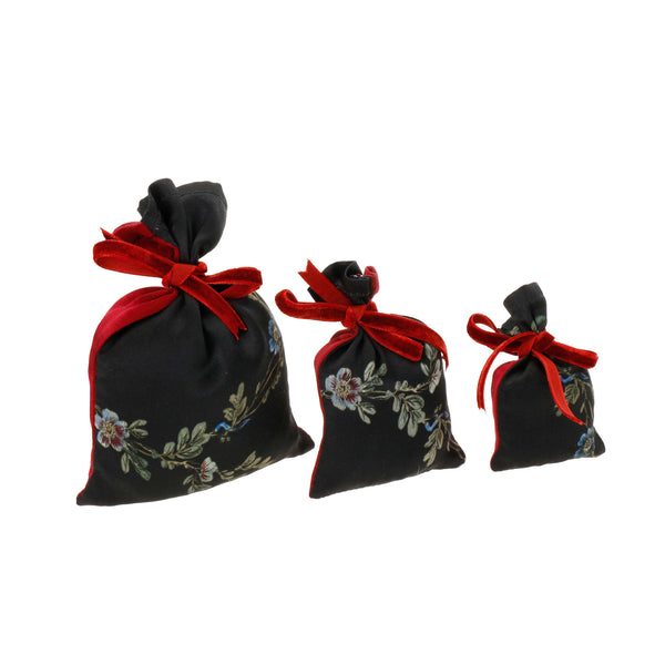 "Silk Lavender Bag, Black and Red ""Le Perroquet"" - House of Castlebird Rose"