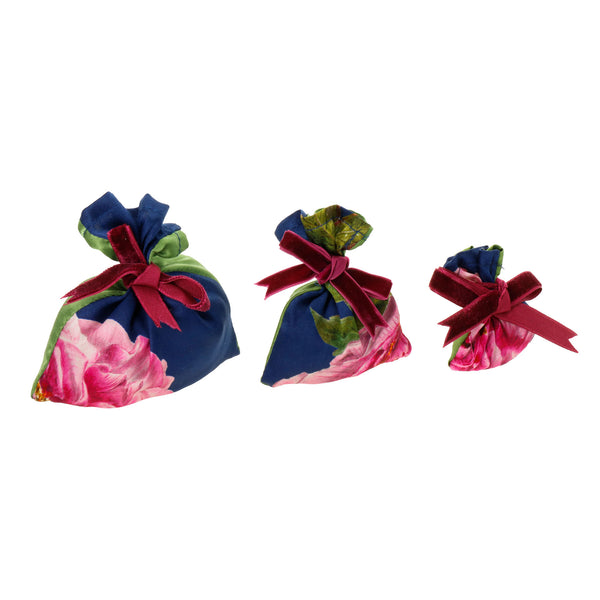 "Silk Lavender Bag, Royal Blue and Green ""La Pivoine"" - Castlebird Rose"