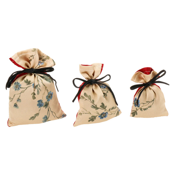 """Le Perroquet"" Silk Lavender Bag, Gold and Red"
