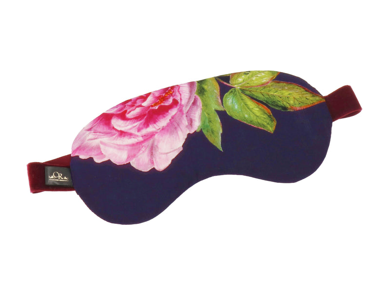 "Silk Eye Mask, Midnight Blue and Green ""La Pivoine"" - Castlebird Rose"