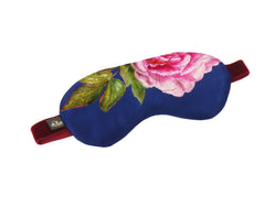 """La Pivoine"" Silk Eye Mask, Royal Blue and Green - Castlebird Rose"
