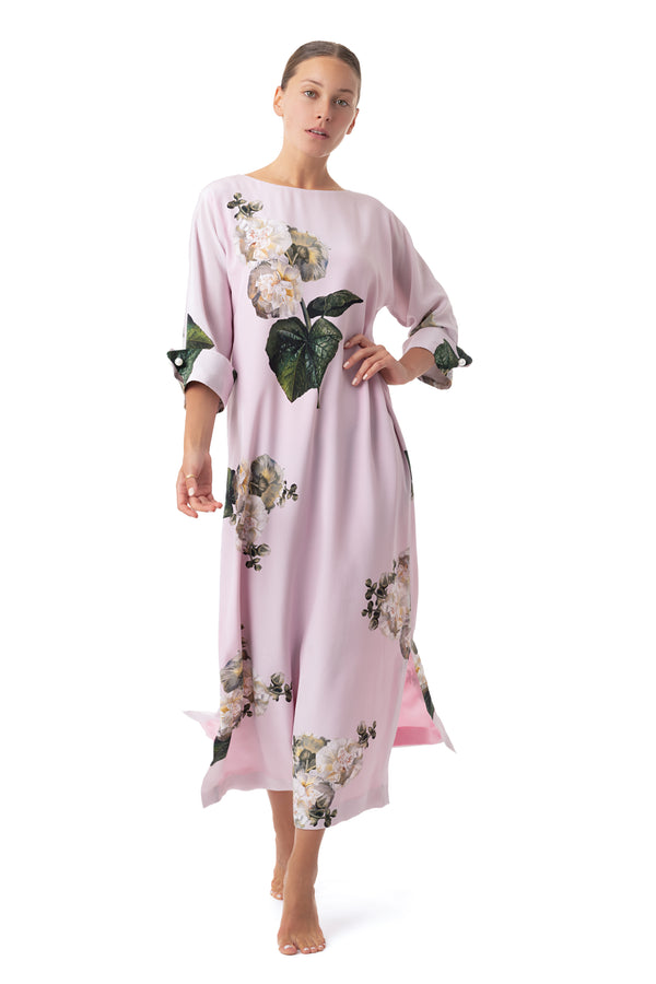 Silk semi-casual dress pastel pink ''Fleur Blanche'' - House of Castlebird Rose