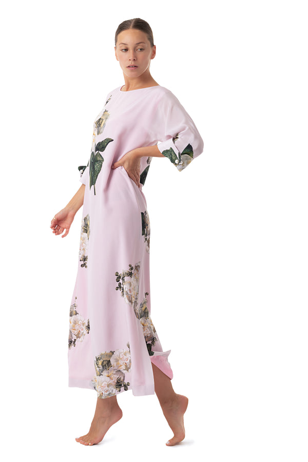 ''Fleur Blanche'' Long semi-casual dress pastel pink - Castlebird Rose