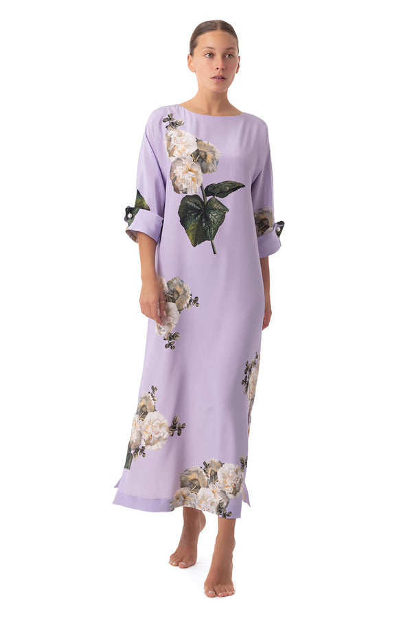 Long semi-casual dress lavender ''Fleur Blanche'' - Castlebird Rose