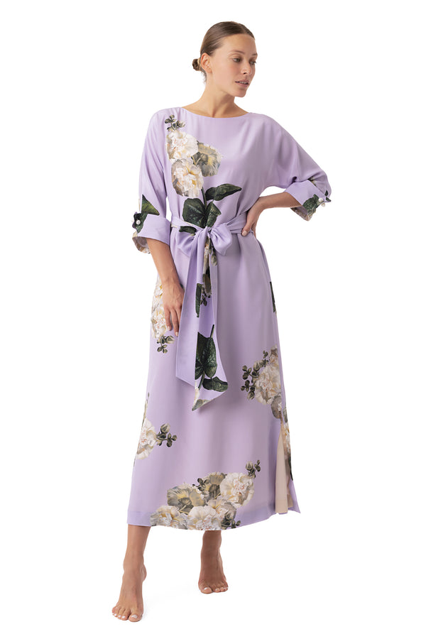 Silk semi-casual dress lavender ''Fleur Blanche'' - House of Castlebird Rose