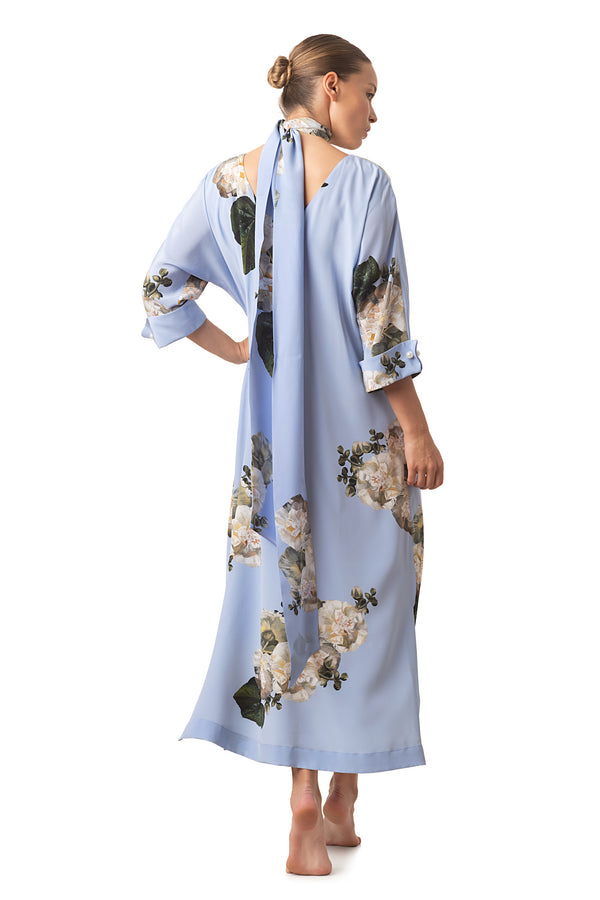 Silk casual dress sky blue ''Fleur Blanche'' - House of Castlebird Rose