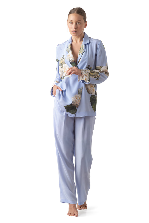 Silk lounging suit sky blue ''Fleur Blanche'' - Castlebird Rose